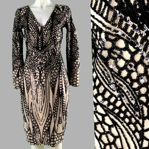 Dresses & Skirts - NUDE BLACK SEQUIN ART DECO GOTH INSECT WINGS DRESS
